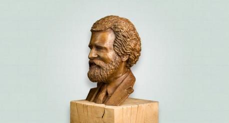 Bronzen borstbeeld man met baard