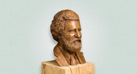 brons borstbeeld van man met baard in lichte patina