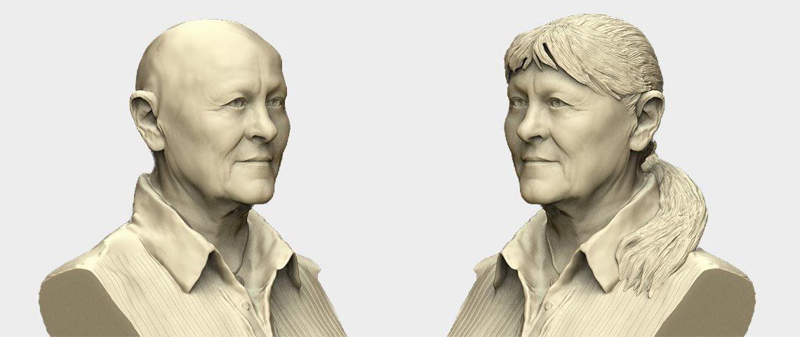 Render van brons standbeeld met en zonder haar van Joke Alberts